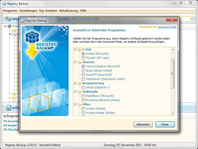 Vorschau Registry Backup 1.0 SE - Bild 1
