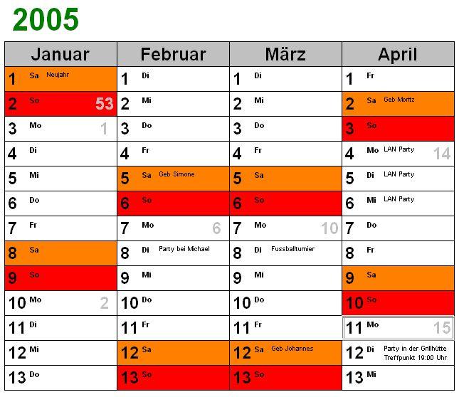 Vorschau enormasoft Kalender 1.02 - Bild 1
