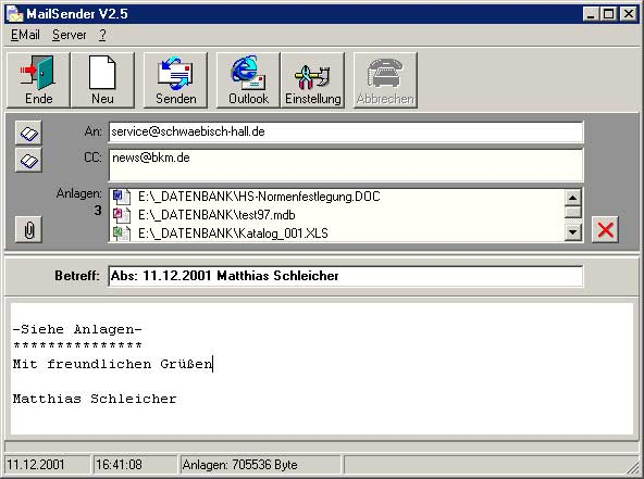 Vorschau Mailsender V2.4 - Bild 1
