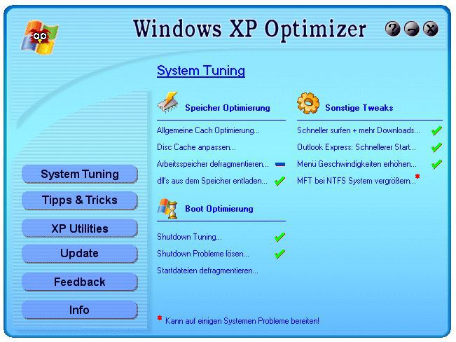 Vorschau Windows XP Optimizer - Bild 1