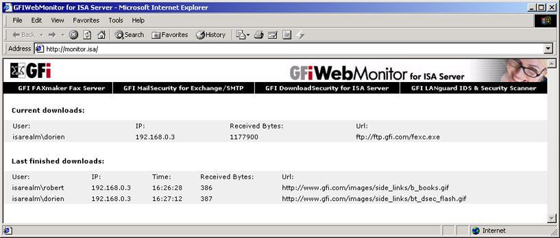 Vorschau GFI WebMonitor for ISA Server - Bild 1