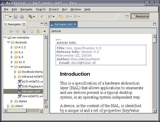 Vorschau Vex - A Visual Editor for XML - Bild 1