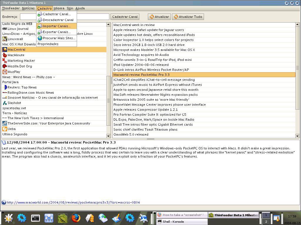 Vorschau ThinFeeder Java RSS - Atom Aggregator - Bild 1
