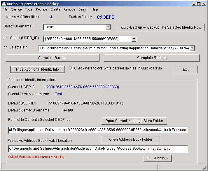 Vorschau Outlook Express Freebie Backup - Bild 1