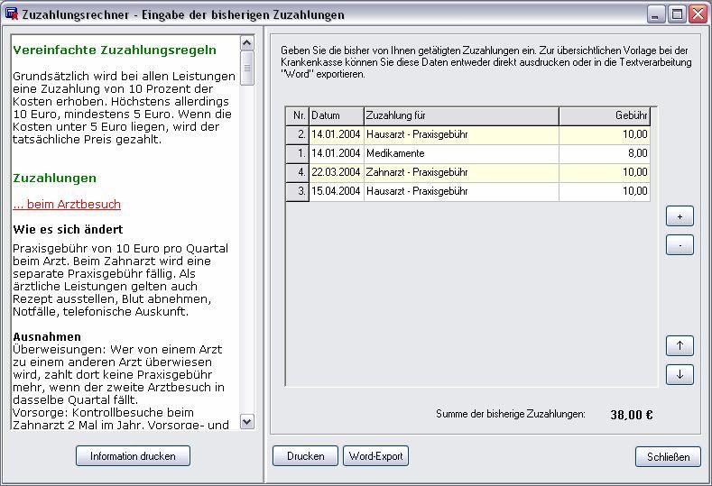 Vorschau ZZR - Zuzahlungsrechner 2004 - Bild 1