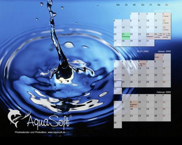 Vorschau AquaSoft DesktopKalender Tropfen - Bild 1