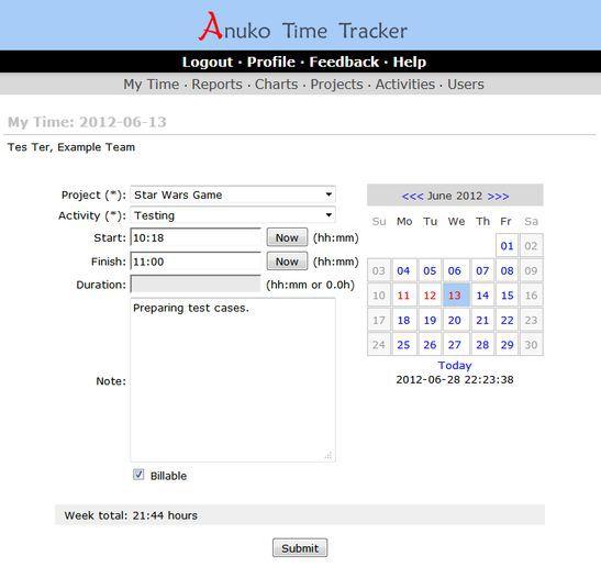 Vorschau Anuko Time Tracker - Bild 1