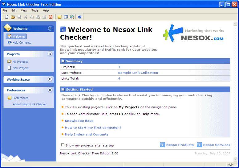 Vorschau Nesox Link Checker Free Edition - Bild 1