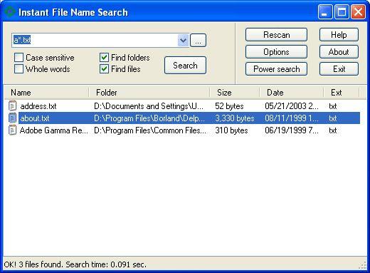 Vorschau Instant File Name Search - Bild 1