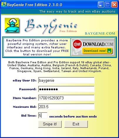 Vorschau BayGenie eBay Auction Sniper Free - Bild 1