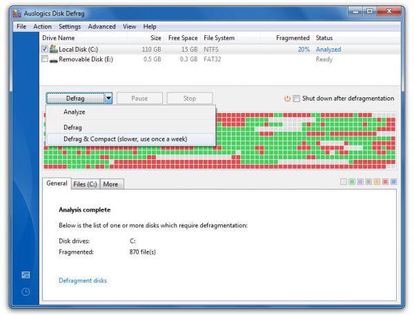 Vorschau Auslogics Disk Defrag und Portable - Bild 1