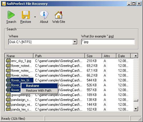Vorschau SoftPerfect File Recovery - Bild 1