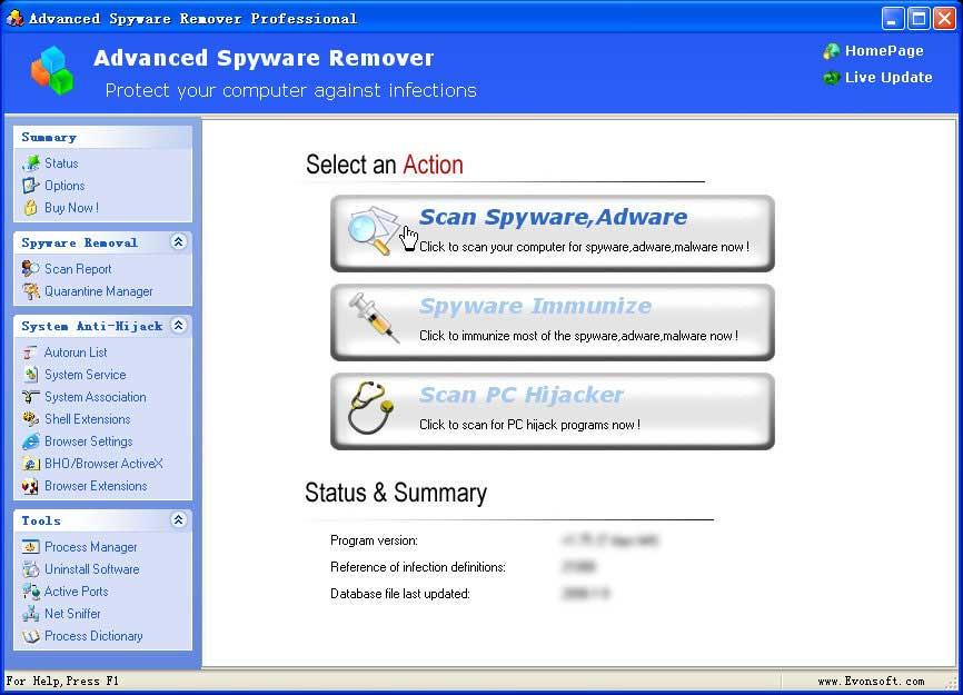 Vorschau Advanced Spyware Remover - Bild 1