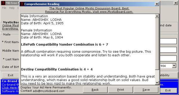 Vorschau MB Numerology Compatibility Software - Bild 1