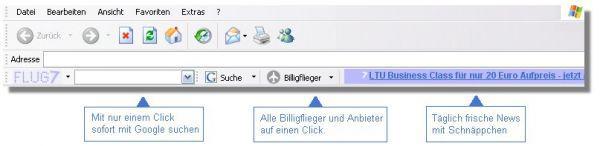 Vorschau Flug7 Toolbar Billigflieger-Newsticker - Bild 1