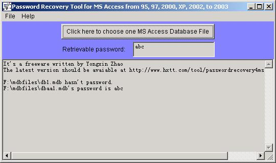 Vorschau Password Recovery for MS Access - Bild 1
