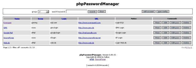 Vorschau phpPasswordManager - Bild 1