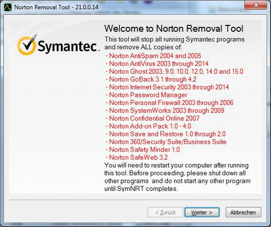 Vorschau Norton Removal Tool for Windows - Bild 1
