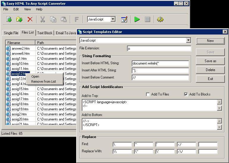 Vorschau Easy HTML To Any Script Converter - Bild 1