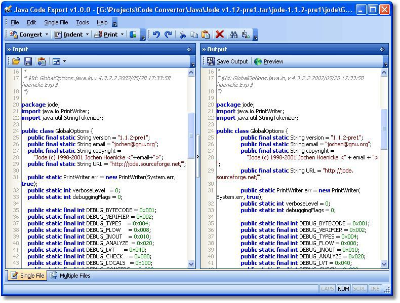 Vorschau Java Code Export - Bild 1
