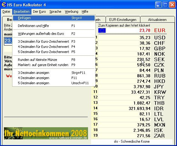 Vorschau HS Euro Kalkulator - Bild 1