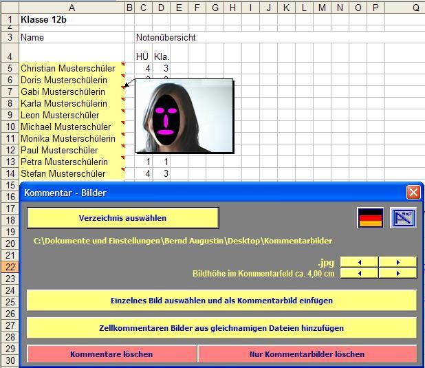 Vorschau Kommentarbilder - AddIn für Excel - Bild 1