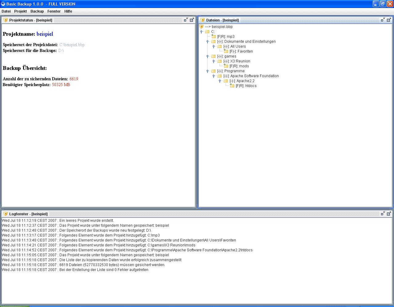 Vorschau Basic Backup - Bild 1