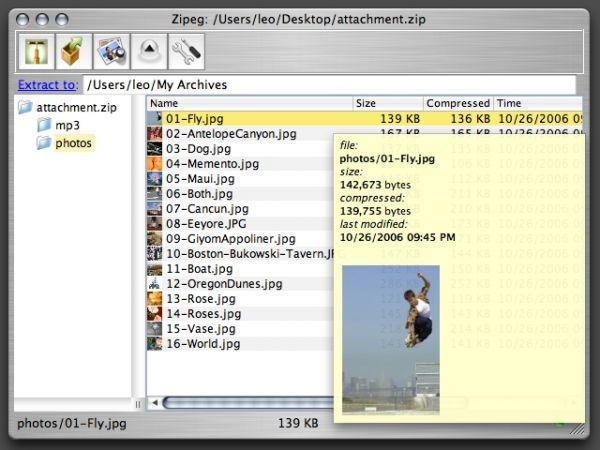 Vorschau Zipeg for Macintosh - Bild 1