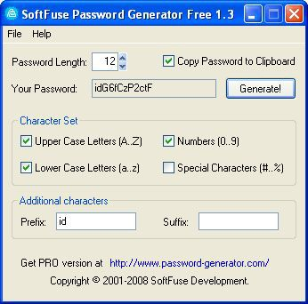 Vorschau SoftFuse Password Generator Free - Bild 1
