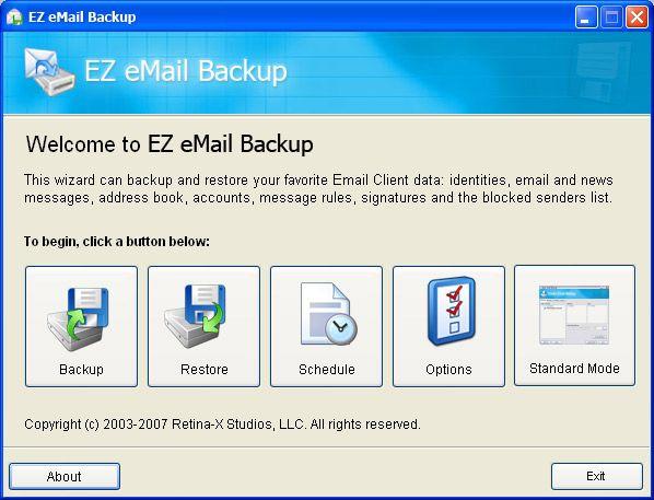 Vorschau EZ eMail Backup - Bild 1
