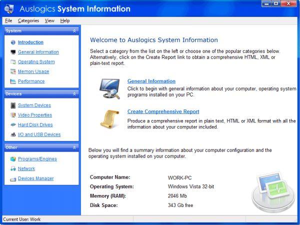 Vorschau AusLogics System Information - Bild 1
