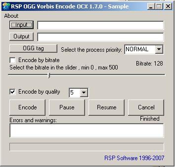Vorschau RSP OGG Vorbis Encode OCX - Bild 1