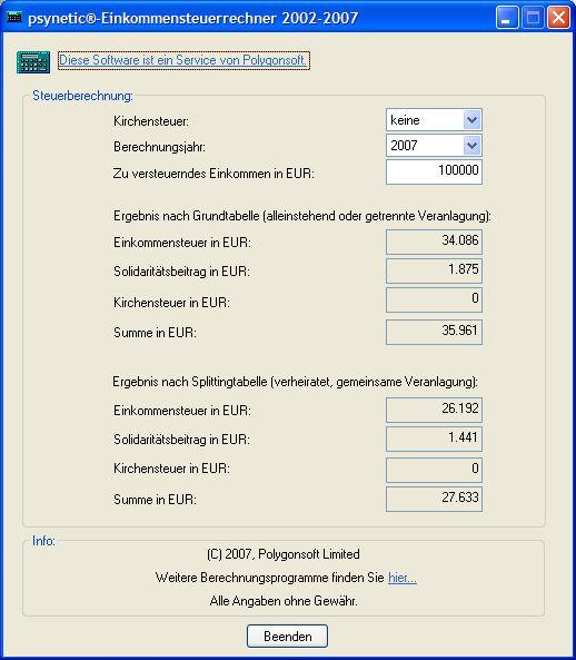 Vorschau psynetic-Einkommensteuer-Rechner 2002-2007 - Bild 1