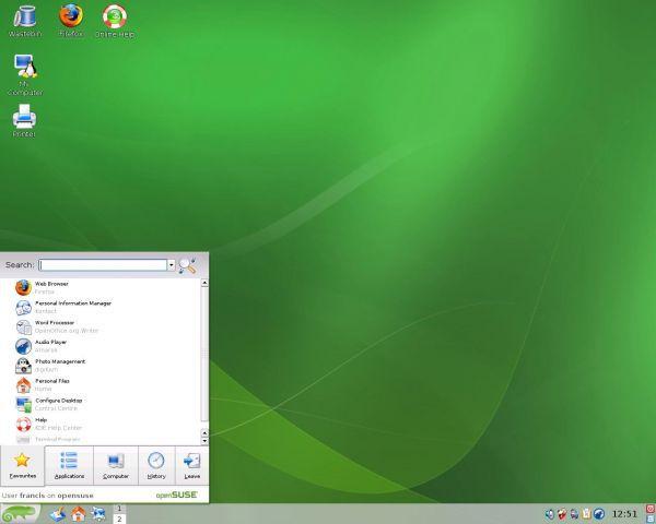 Vorschau openSUSE Live - Bild 1