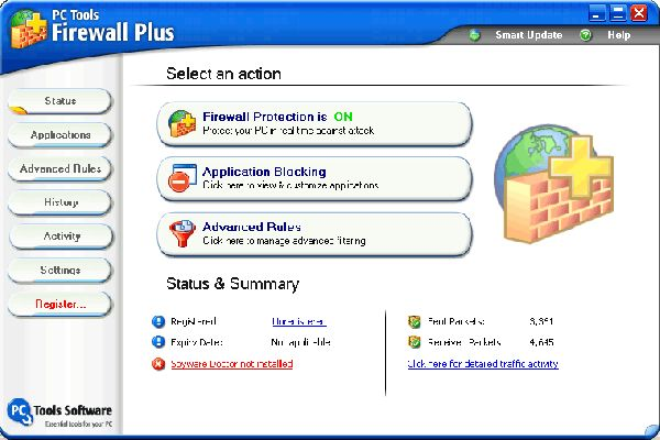 Vorschau PC Tools Firewall Plus - Bild 1