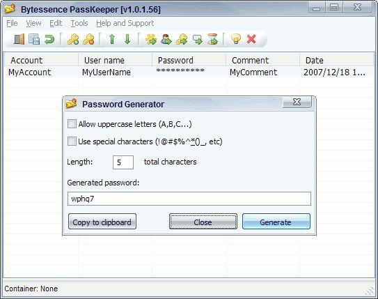 Vorschau Bytessence PasswordManager - formerly Bytessence PassKeeper - Bild 1