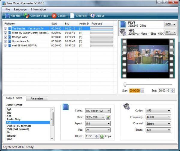 Vorschau Koyote Free Video Converter - Bild 1