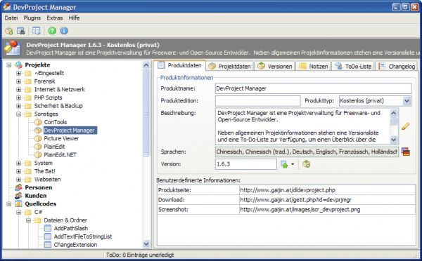 Vorschau DevProject Manager - Bild 1