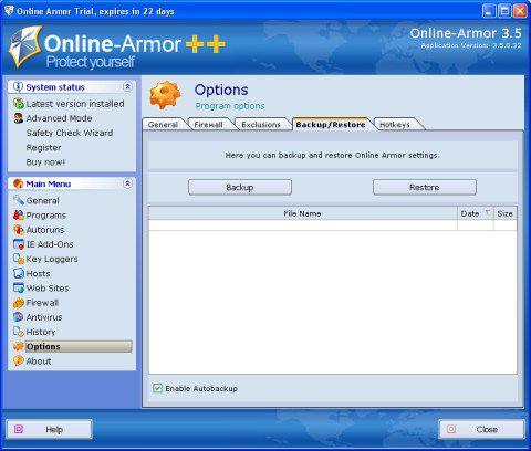 Vorschau Online Armor Free Firewall - Bild 1