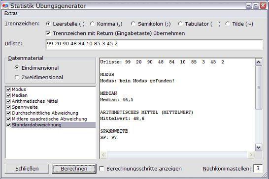 Vorschau Statistik Uebungsgenerator - Bild 1