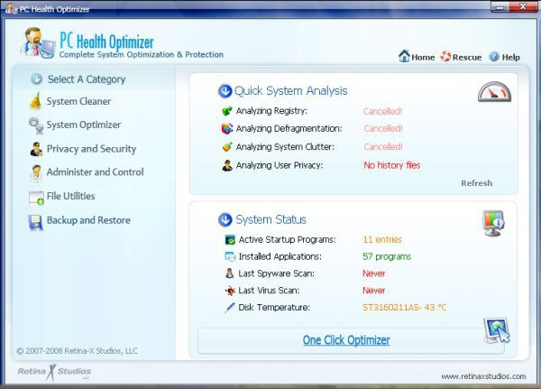 Vorschau PC Health Optimizer Free Edition - Bild 1