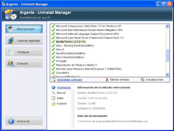 Vorschau Argente - Uninstall Manager and Portable - Bild 1