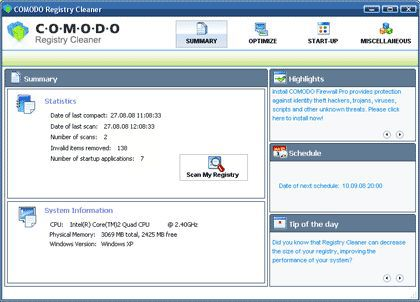 Vorschau Comodo Registry Cleaner - Bild 1