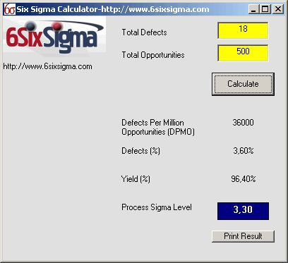 Vorschau Six Sigma Metric Calculator - Bild 1