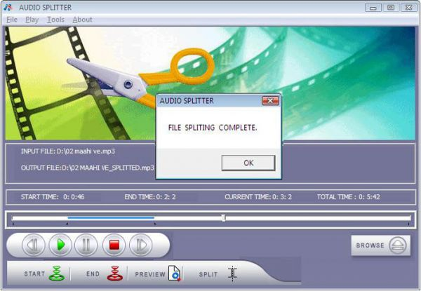 Vorschau Audio Splitter Freeware Software - Bild 1