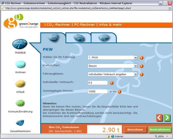 Vorschau greenOrange CO2- Rechner - Bild 1