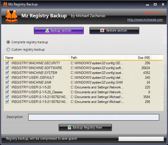 Vorschau Mz Registry Backup - Bild 1