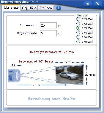 Vorschau Brennweitenrechner - Bild 1
