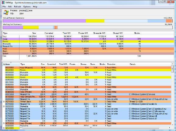 Vorschau SysInternals VMMap - Bild 1