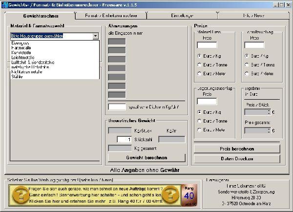 Vorschau Gewichts- Einheiten- Formatumrechner - Bild 1